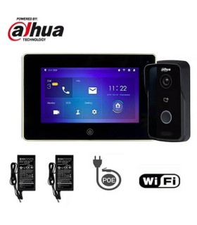 Kit de Videoporteiro IP WiFi Dahua composto por VTO2111D-WP + VTH5221DW