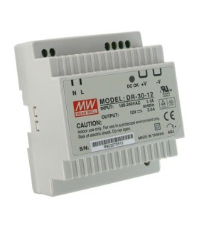 Power supply switched to DIN rail